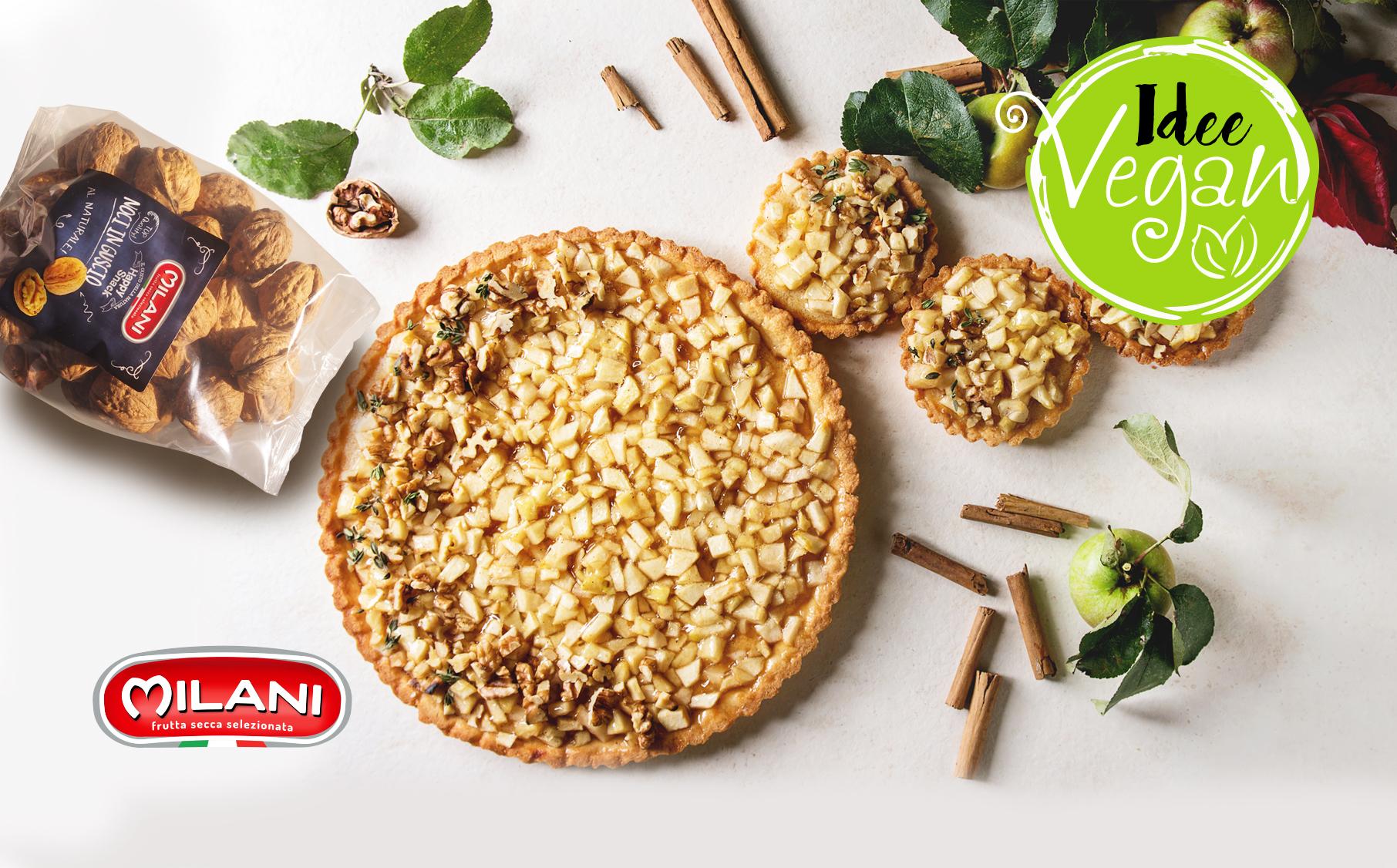 Idee vegan: torta alle mele e noci, senza burro, senza uova
