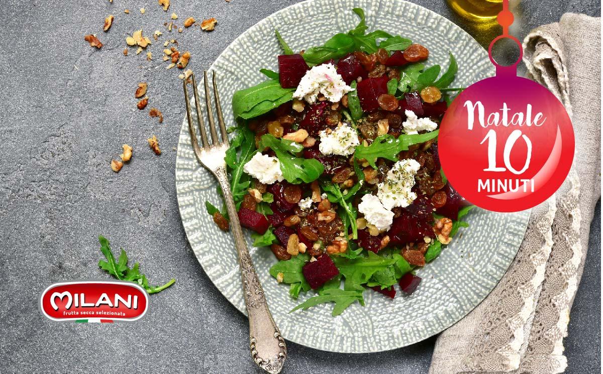 Natale in 10 minuti: insalata noci, uvetta e formaggio caprino