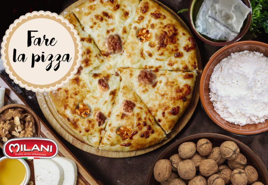 Pizza fatta in casa gorgonzola e noci