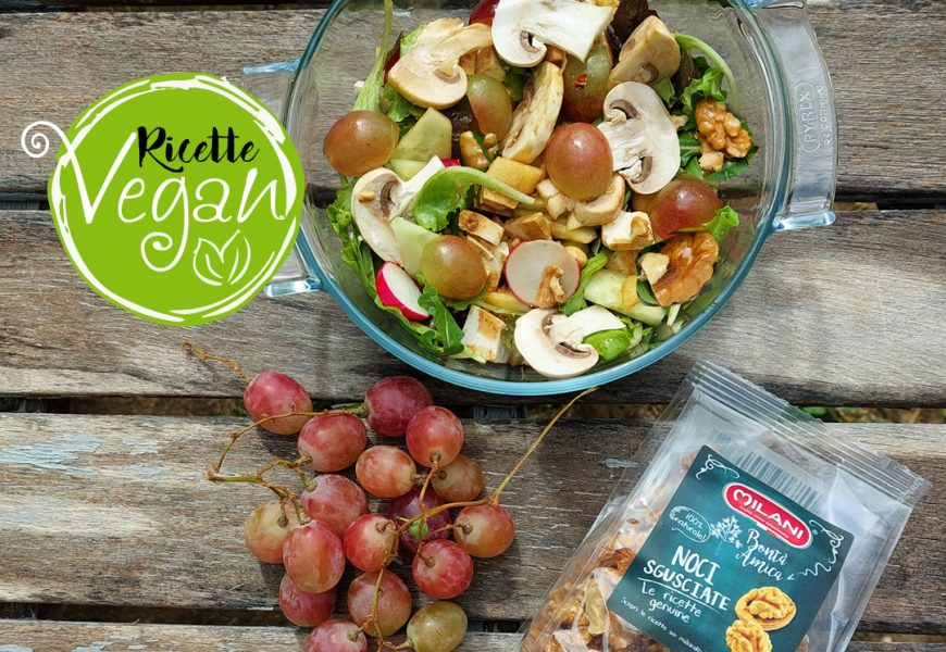 Idee vegan: insalata funghi, noci e uva